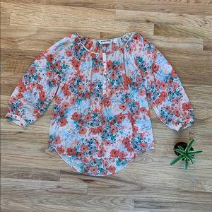 LC Lauren Conrad Small Floral Sheer Blouse EUC